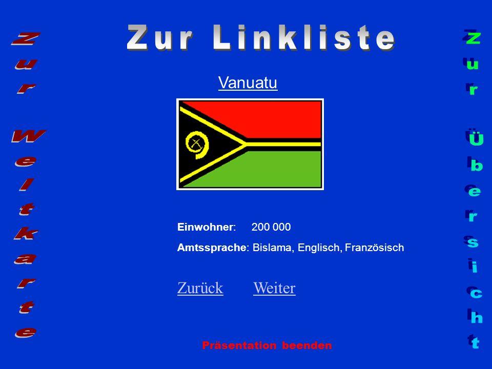 Vanuatu Präsentation beenden Einwohner: 200 000 Amtssprache: Bislama, Englisch, Französisch ZurückZurück WeiterWeiter