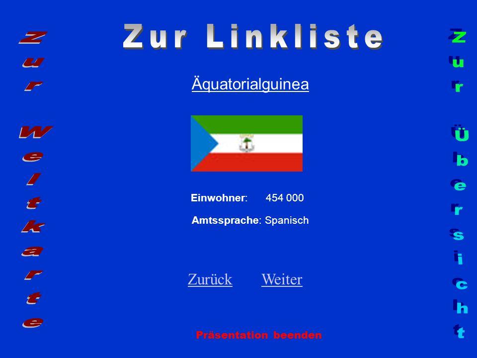 Äquatorialguinea Einwohner: 454 000 Amtssprache: Spanisch ZurückZurück WeiterWeiter Präsentation beenden
