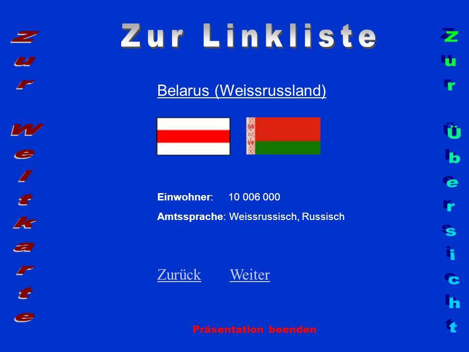 Belarus (Weissrussland) Einwohner: 10 006 000 Amtssprache: Weissrussisch, Russisch ZurückZurück WeiterWeiter Präsentation beenden