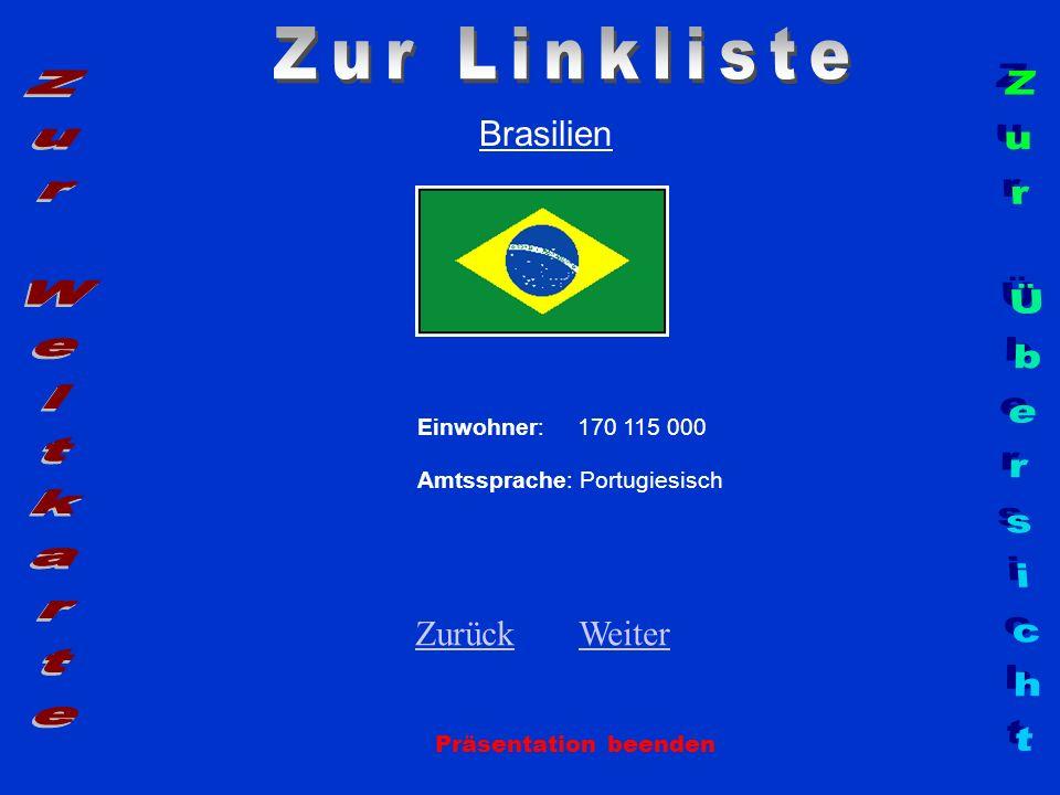 Brasilien Einwohner: 170 115 000 Amtssprache: Portugiesisch ZurückZurück WeiterWeiter Präsentation beenden