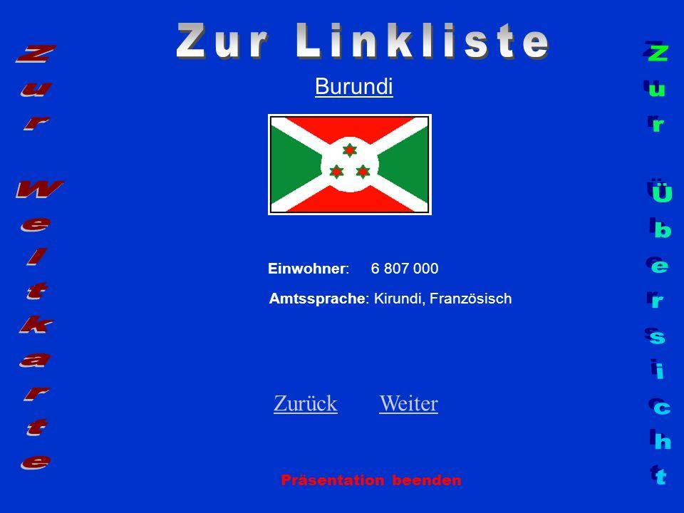 Burundi Einwohner: 6 807 000 Amtssprache: Kirundi, Französisch ZurückZurück WeiterWeiter Präsentation beenden