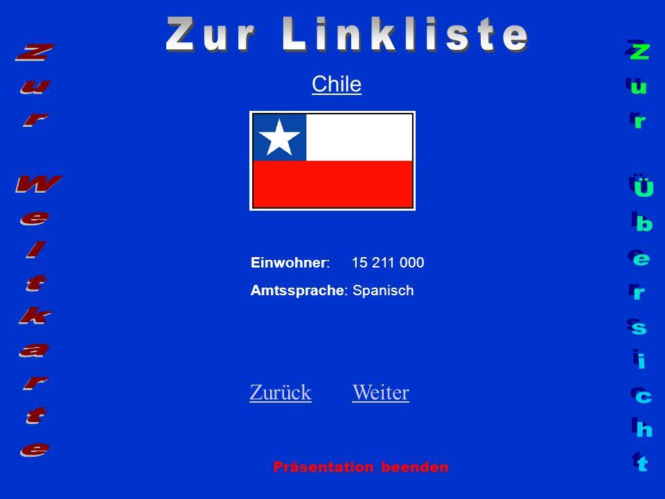 Chile Einwohner: 15 211 000 Amtssprache: Spanisch ZurückZurück WeiterWeiter Präsentation beenden