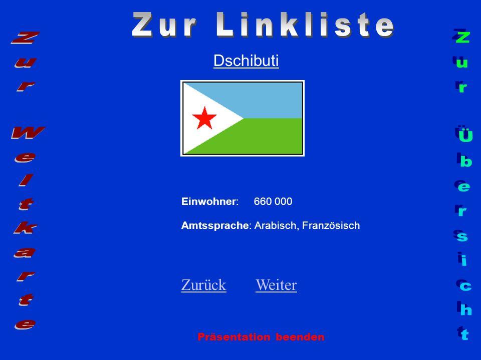 Dschibuti Einwohner: 660 000 Amtssprache: Arabisch, Französisch ZurückZurück WeiterWeiter Präsentation beenden