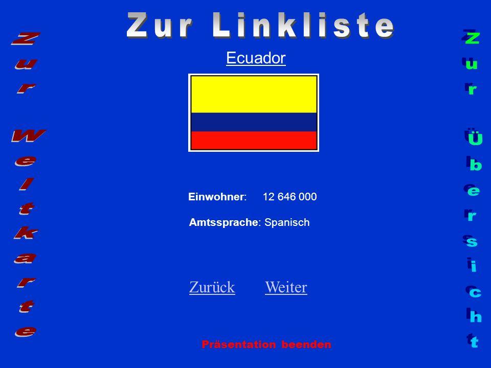 Ecuador Einwohner: 12 646 000 Amtssprache: Spanisch ZurückZurück WeiterWeiter Präsentation beenden