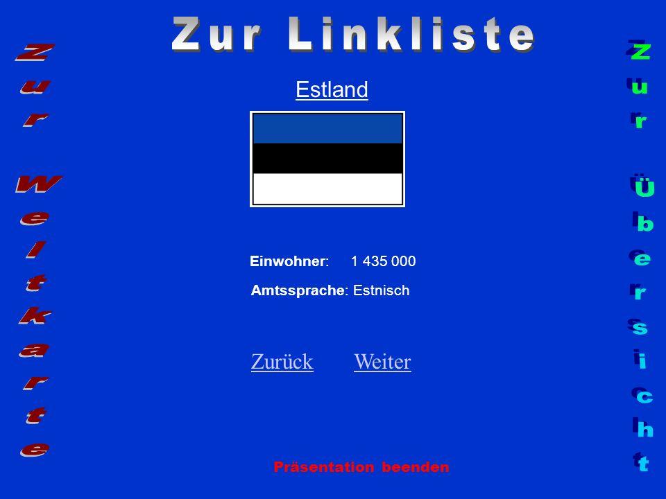 Estland Einwohner: 1 435 000 Amtssprache: Estnisch ZurückZurück WeiterWeiter Präsentation beenden