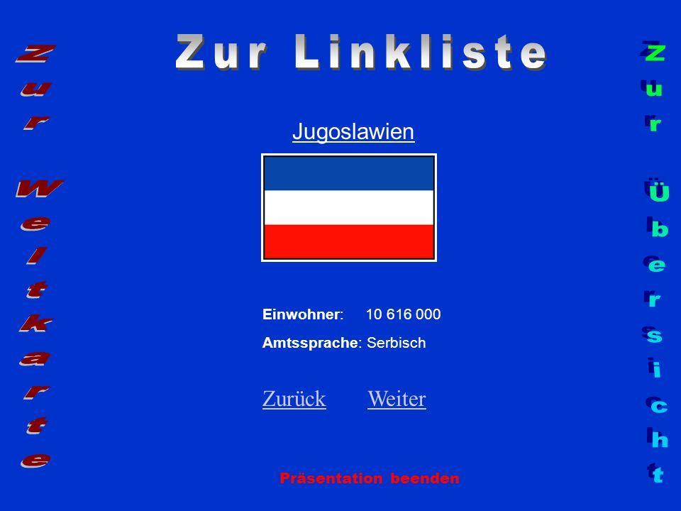 Jugoslawien Einwohner: 10 616 000 Amtssprache: Serbisch ZurückZurück WeiterWeiter Präsentation beenden