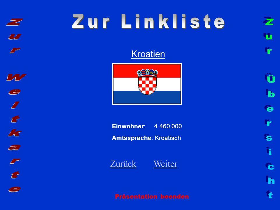 Kroatien Einwohner: 4 460 000 Amtssprache: Kroatisch ZurückZurück WeiterWeiter Präsentation beenden