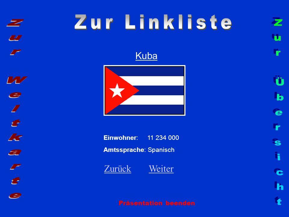 Kuba Einwohner: 11 234 000 Amtssprache: Spanisch ZurückZurück WeiterWeiter Präsentation beenden