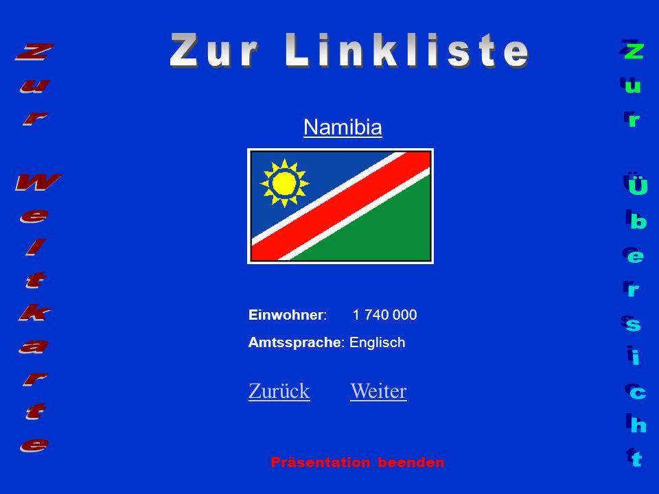 Namibia Präsentation beenden Einwohner: 1 740 000 Amtssprache: Englisch ZurückZurück WeiterWeiter