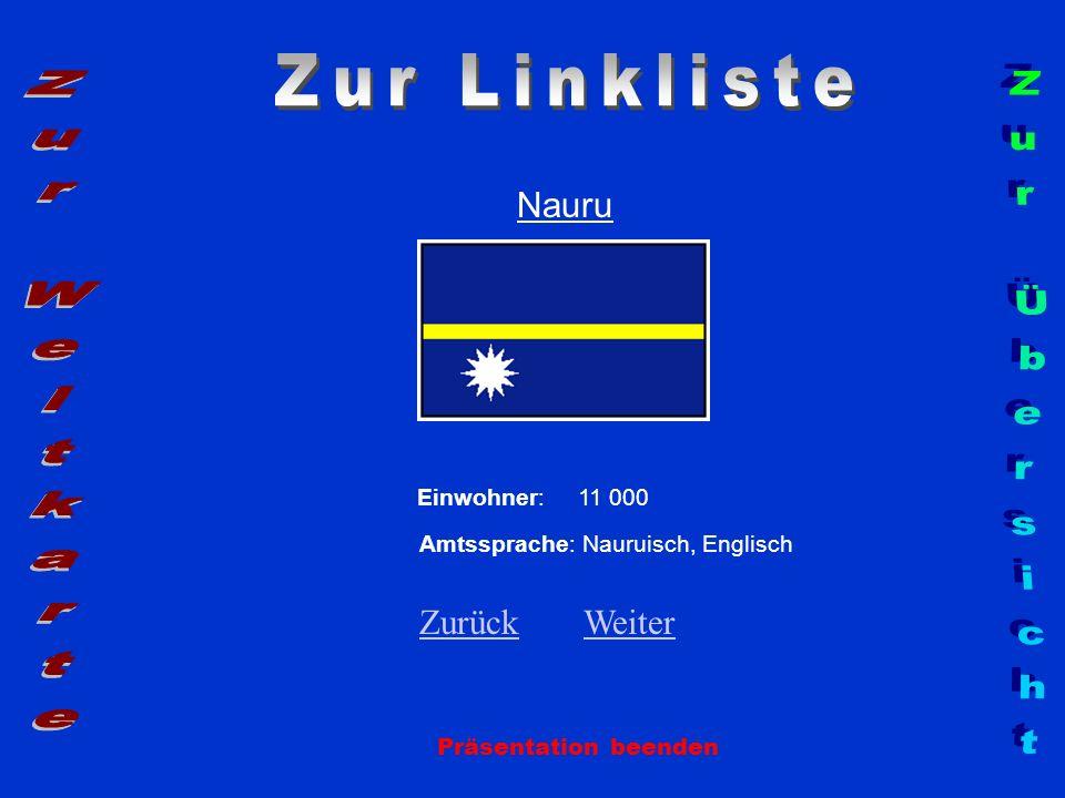 Nauru Präsentation beenden Einwohner: 11 000 Amtssprache: Nauruisch, Englisch ZurückZurück WeiterWeiter