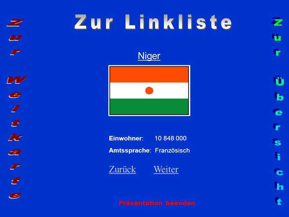 Niger Präsentation beenden Einwohner: 10 848 000 Amtssprache: Französisch ZurückZurück WeiterWeiter