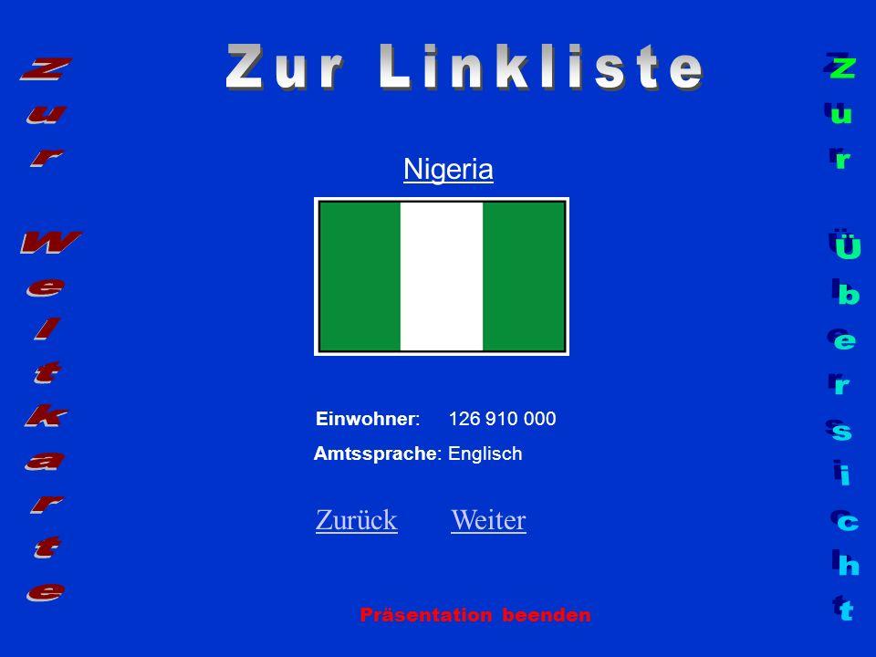 Nigeria Präsentation beenden Einwohner: 126 910 000 Amtssprache: Englisch ZurückZurück WeiterWeiter