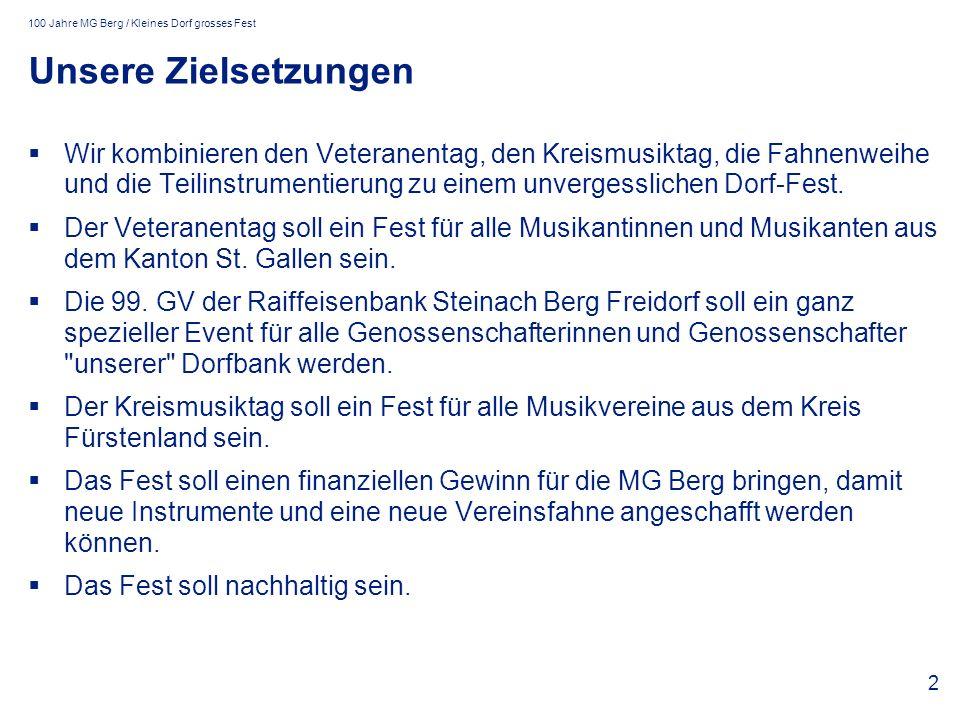 100 Jahre MG Berg / Kleines Dorf grosses Fest 2 Unsere Zielsetzungen Wir kombinieren den Veteranentag, den Kreismusiktag, die Fahnenweihe und die Teilinstrumentierung zu einem unvergesslichen Dorf-Fest.