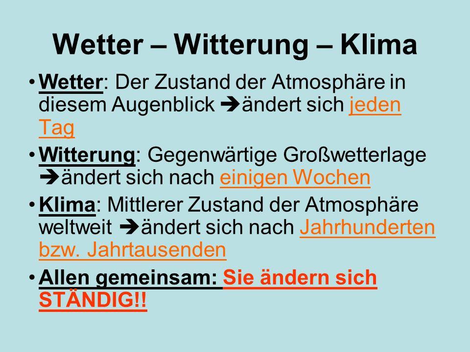 Wetter – Witterung – Klima Wetter: Der Zustand der Atmosphäre in diesem Augenblick ändert sich jeden Tag Witterung: Gegenwärtige Großwetterlage ändert