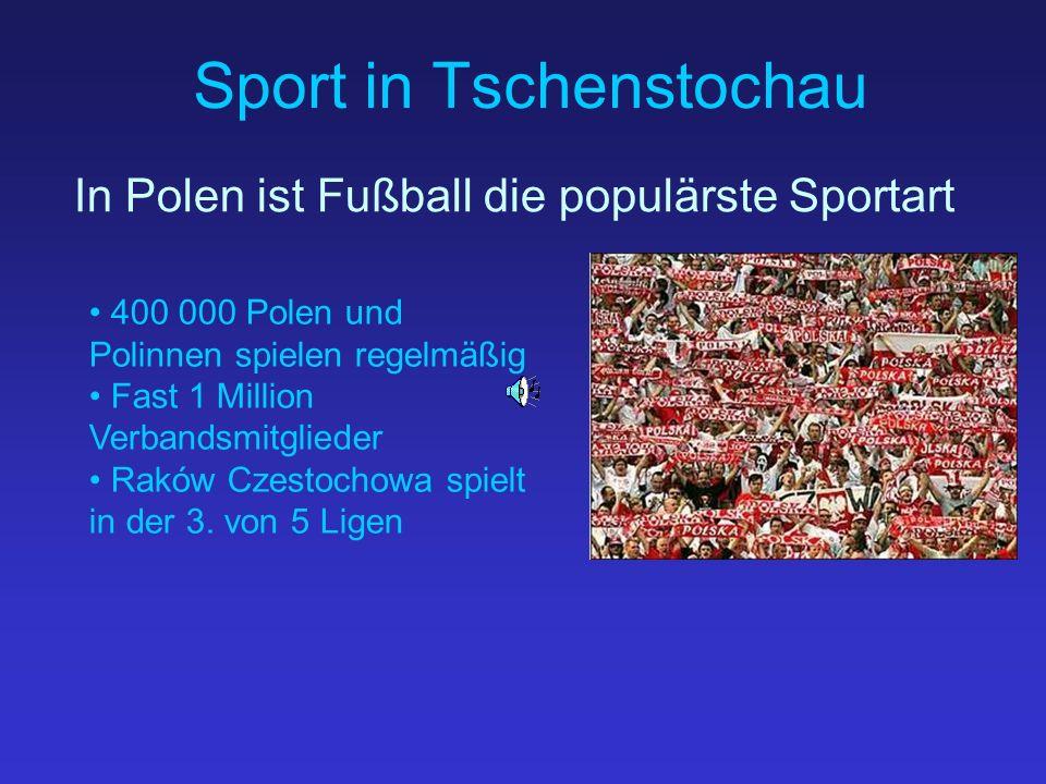 Sport in Tschenstochau In Polen ist Fußball die populärste Sportart 400 000 Polen und Polinnen spielen regelmäßig Fast 1 Million Verbandsmitglieder Raków Czestochowa spielt in der 3.