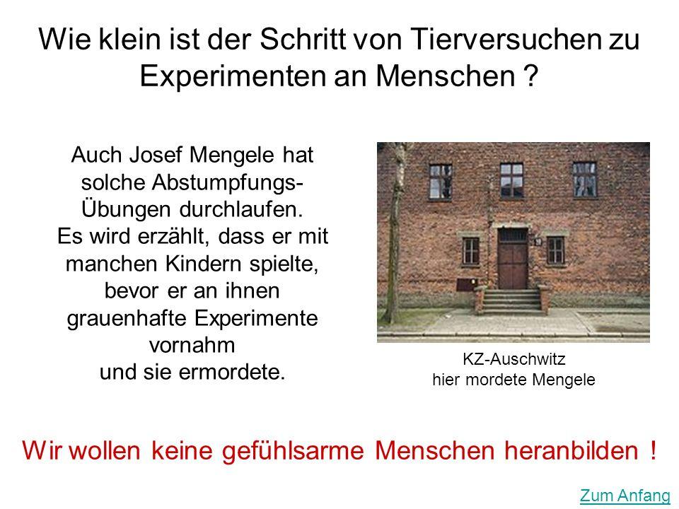 Wie klein ist der Schritt von Tierversuchen zu Experimenten an Menschen ?. KZ-Auschwitz hier mordete Mengele Wir wollen keine gefühlsarme Menschen her