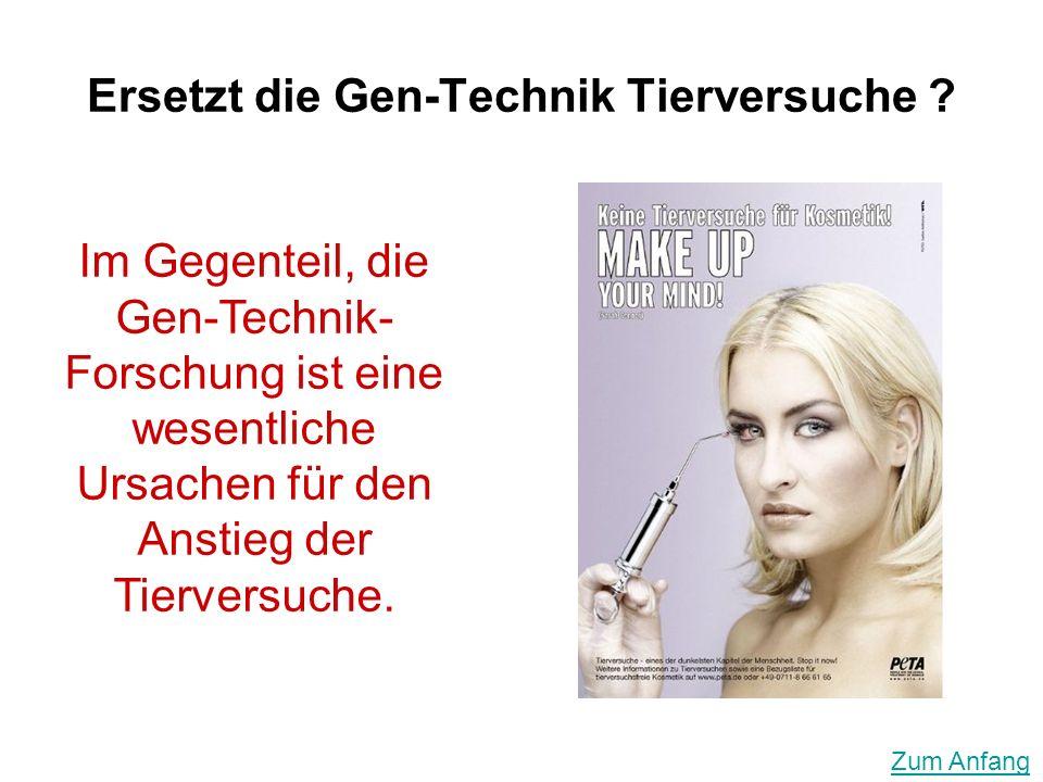 Ersetzt die Gen-Technik Tierversuche ? Im Gegenteil, die Gen-Technik- Forschung ist eine wesentliche Ursachen für den Anstieg der Tierversuche. Zum An