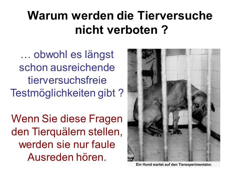 Warum werden die Tierversuche nicht verboten ? … obwohl es längst schon ausreichende tierversuchsfreie Testmöglichkeiten gibt ? Wenn Sie diese Fragen