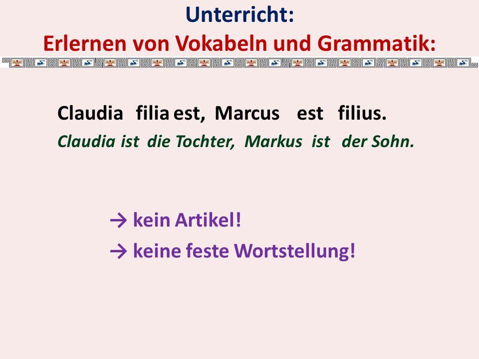 Unterricht: Erlernen von Vokabeln und Grammatik: kein Artikel.