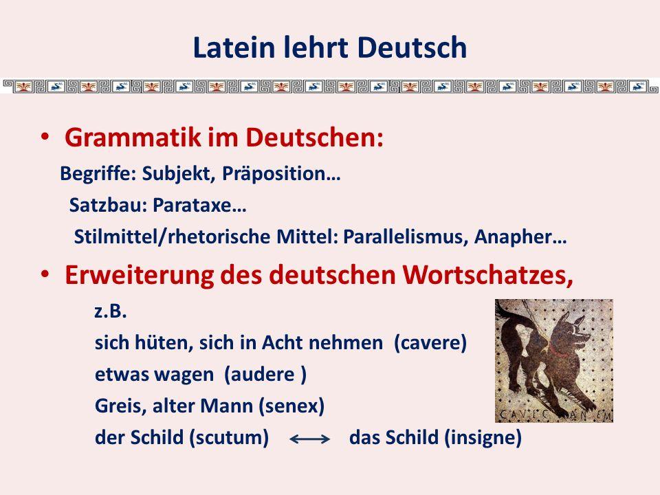 Gründe für Latein: Grundlage für moderne Fremdsprachen: 60% des englischen Wortschatzes stammen aus dem Lateinischen.