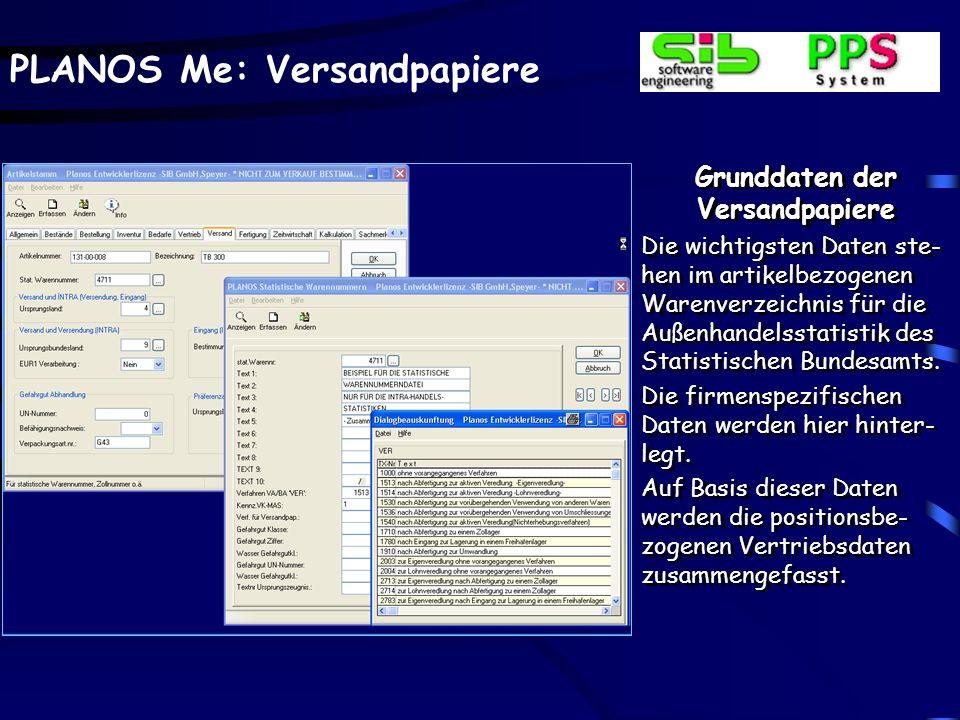 PLANOS Me: Versandpapiere Grunddaten der Versandpapiere Die wichtigsten Daten ste- hen im artikelbezogenen Warenverzeichnis für die Außenhandelsstatis