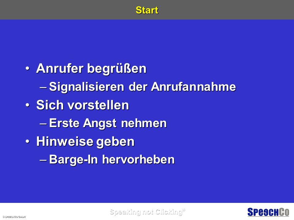 © S PEECH C O GmbH Auskunftsdialog Hallo ich bin BigInfo Ach so, Sie können mich jederzeit unterbrechen.