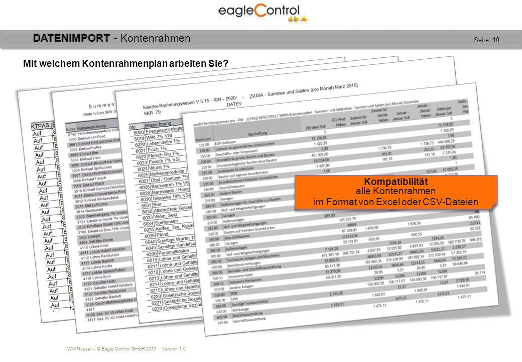 Willi Nusser – © Eagle Control GmbH 2013 Version 1.0 Seite 10 Mit welchem Kontenrahmenplan arbeiten Sie? Kompatibilität alle Kontenrahmen im Format vo