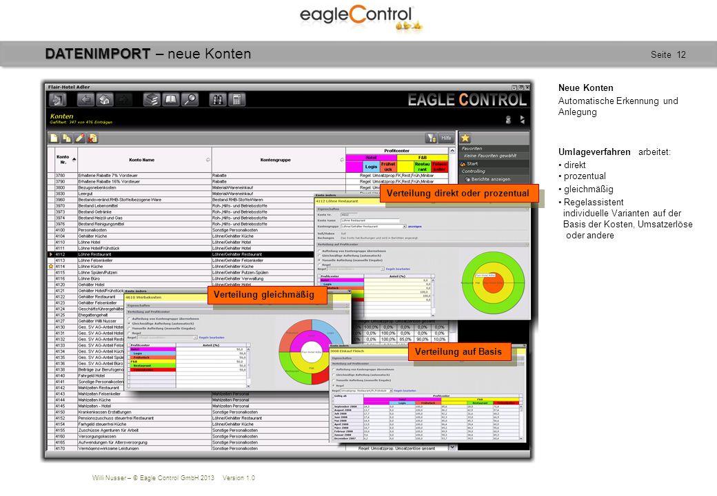 Willi Nusser – © Eagle Control GmbH 2013 Version 1.0 Seite 12 DATENIMPORT DATENIMPORT – neue Konten Neue Konten Automatische Erkennung und Anlegung Um