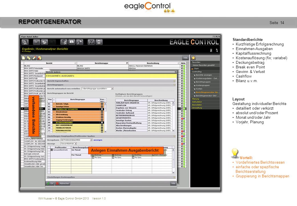 Willi Nusser – © Eagle Control GmbH 2013 Version 1.0 Seite 14REPORTGENERATOR vorhandene Berichte Anlegen Einnahmen-Ausgabenbericht Standardberichte Ku