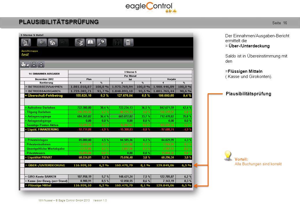Willi Nusser – © Eagle Control GmbH 2013 Version 1.0 Seite 16PLAUSIBILITÄTSPRÜFUNG Der Einnahmen/Ausgaben-Bericht ermittelt die = Über-/Unterdeckung S