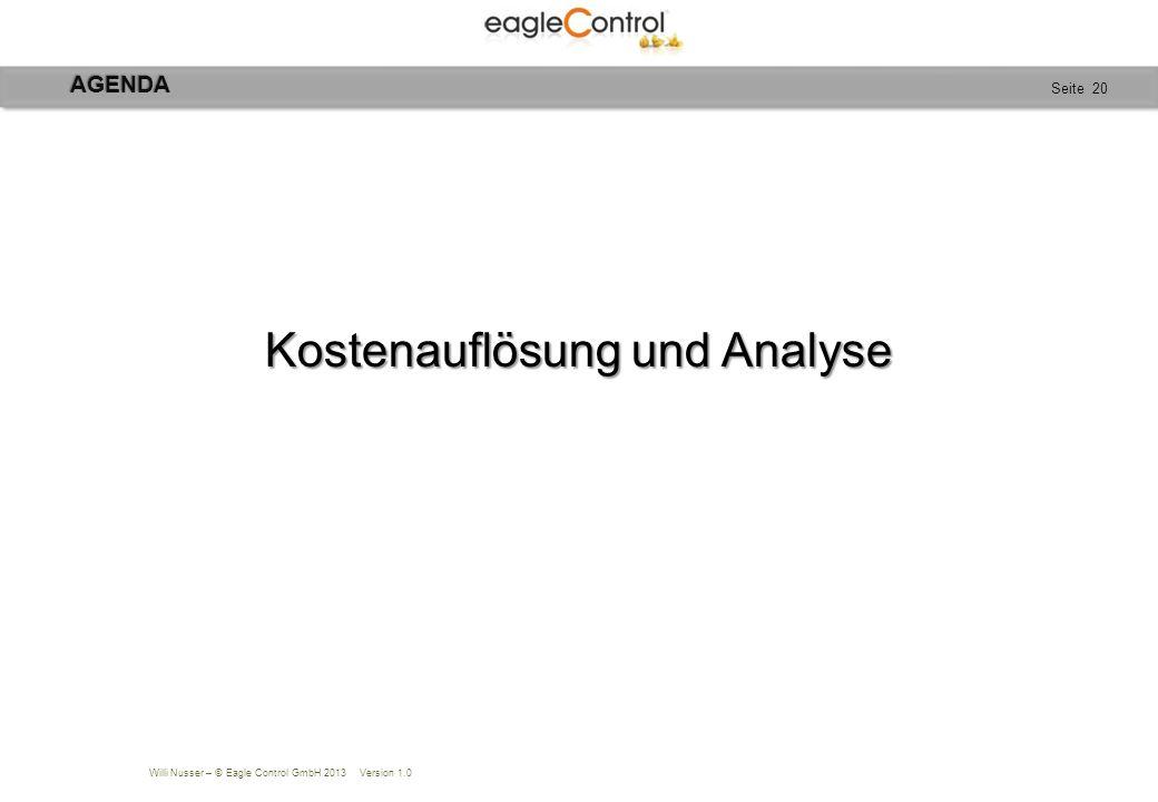 Willi Nusser – © Eagle Control GmbH 2013 Version 1.0 Seite 20 Kostenauflösung und Analyse AGENDA