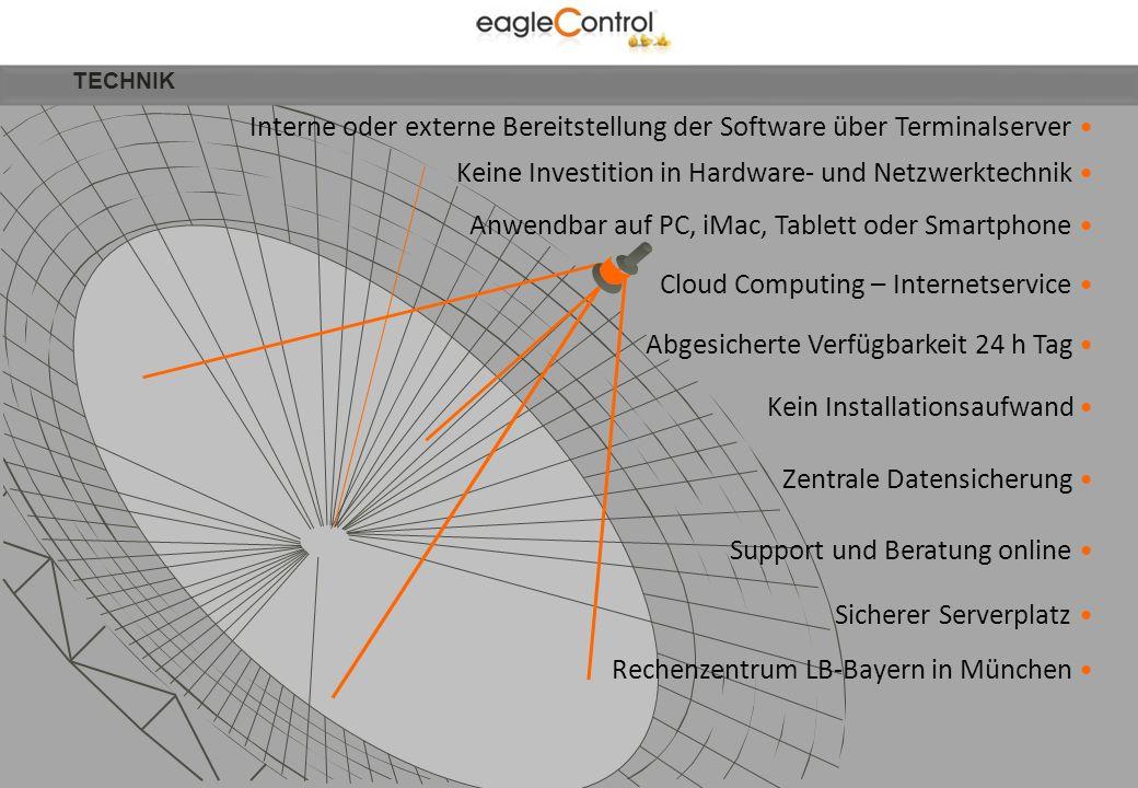 Interne oder externe Bereitstellung der Software über Terminalserver Keine Investition in Hardware- und Netzwerktechnik Kein Installationsaufwand Abge