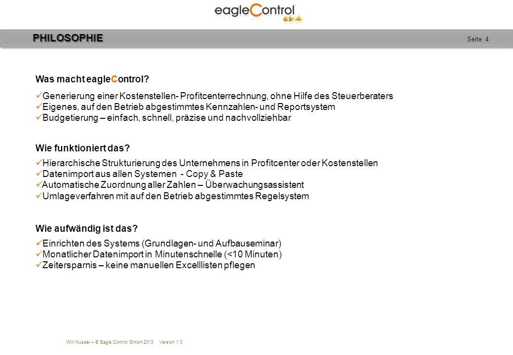 Willi Nusser – © Eagle Control GmbH 2013 Version 1.0 Seite 4 Was macht eagleControl? Generierung einer Kostenstellen- Profitcenterrechnung, ohne Hilfe