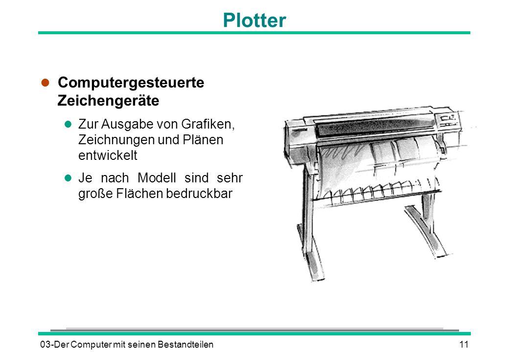 03-Der Computer mit seinen Bestandteilen11 Plotter l Computergesteuerte Zeichengeräte l Zur Ausgabe von Grafiken, Zeichnungen und Plänen entwickelt l