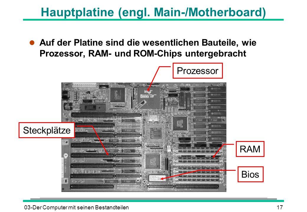 03-Der Computer mit seinen Bestandteilen17 l Auf der Platine sind die wesentlichen Bauteile, wie Prozessor, RAM- und ROM-Chips untergebracht Hauptplat