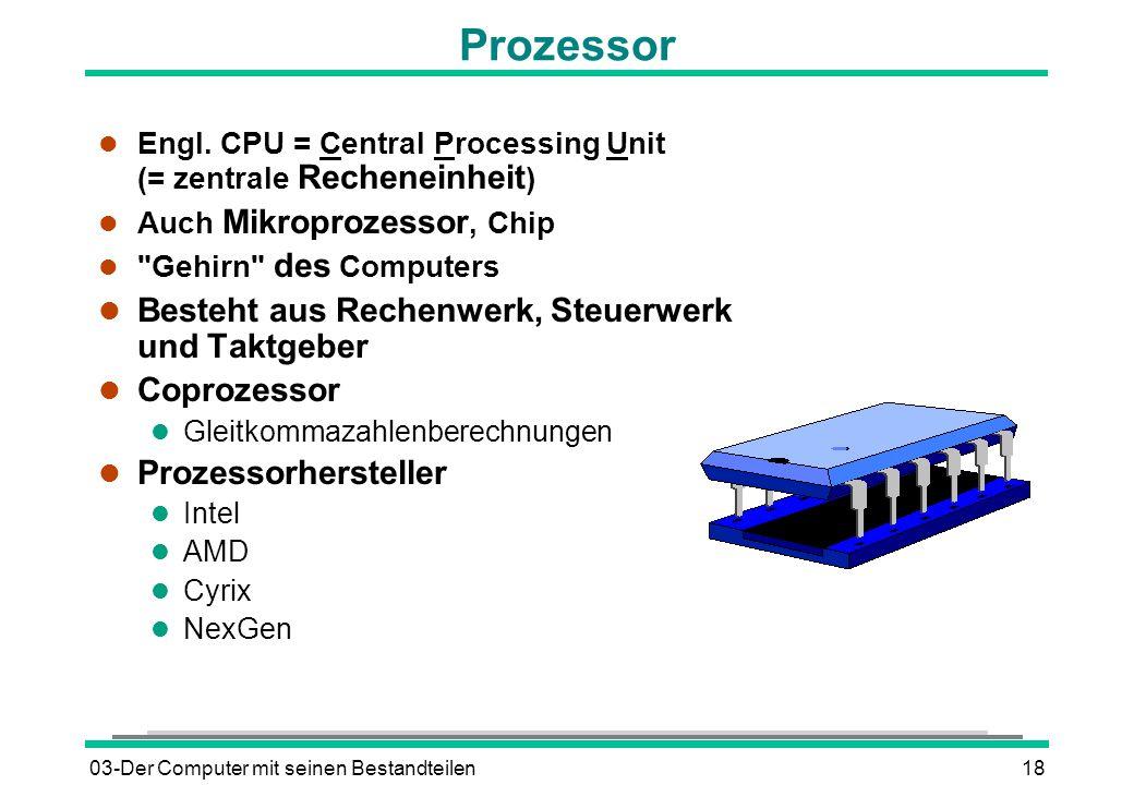 03-Der Computer mit seinen Bestandteilen18 l Engl. CPU = Central Processing Unit (= zentrale Recheneinheit ) l Auch Mikroprozessor, Chip l