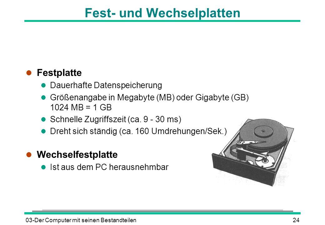 03-Der Computer mit seinen Bestandteilen24 Fest- und Wechselplatten l Festplatte l Dauerhafte Datenspeicherung l Größenangabe in Megabyte (MB) oder Gi