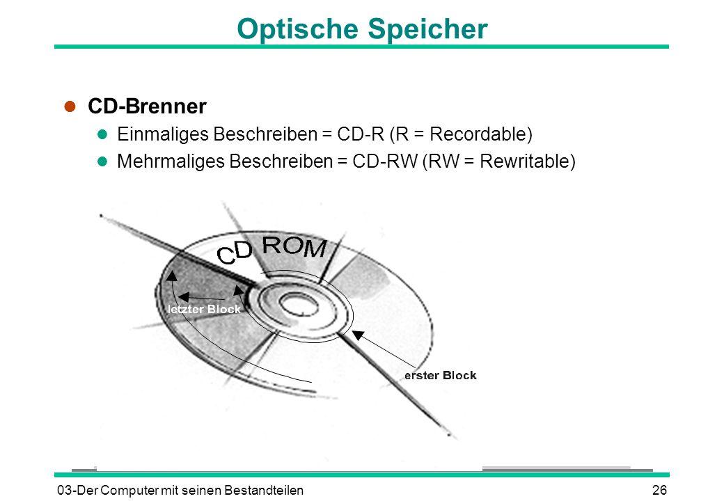 03-Der Computer mit seinen Bestandteilen26 Optische Speicher l CD-Brenner l Einmaliges Beschreiben = CD-R (R = Recordable) l Mehrmaliges Beschreiben =