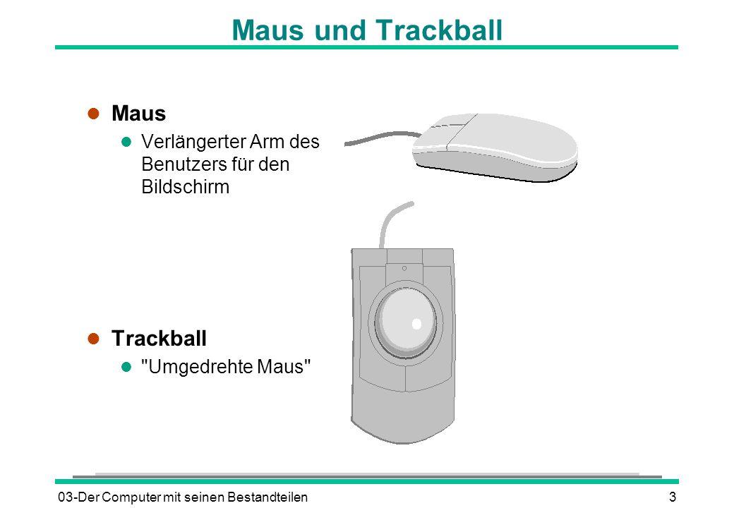 03-Der Computer mit seinen Bestandteilen3 Maus und Trackball l Maus l Verlängerter Arm des Benutzers für den Bildschirm l Trackball l