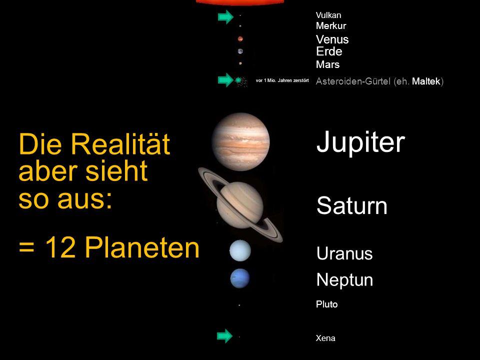 Vulkan Merkur Venus Erde Mars Asteroiden-Gürtel Jupiter Saturn Uranus Neptun Pluto Xena Die Realität (eh. Maltek) = 12 Planeten aber sieht so aus: vor