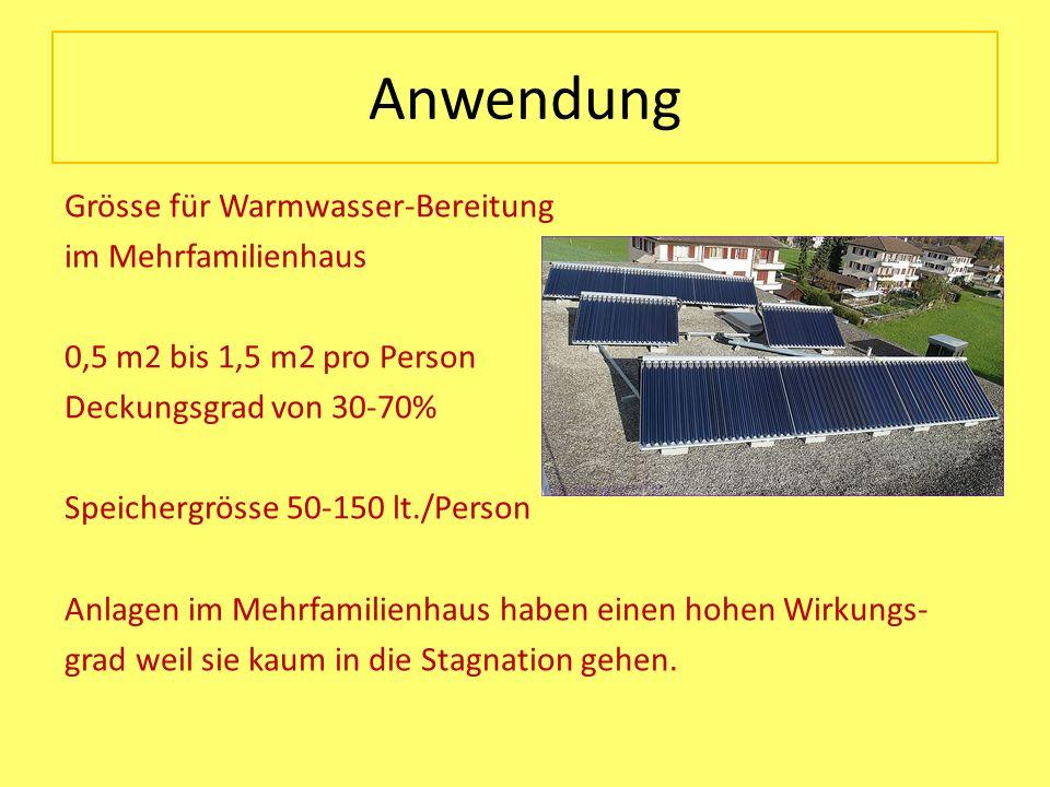 Anwendung Grösse für Warmwasser-Bereitung im Mehrfamilienhaus 0,5 m2 bis 1,5 m2 pro Person Deckungsgrad von 30-70% Speichergrösse 50-150 lt./Person An