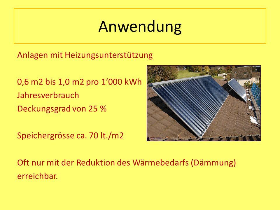 Anwendung Anlagen mit Heizungsunterstützung 0,6 m2 bis 1,0 m2 pro 1000 kWh Jahresverbrauch Deckungsgrad von 25 % Speichergrösse ca. 70 lt./m2 Oft nur