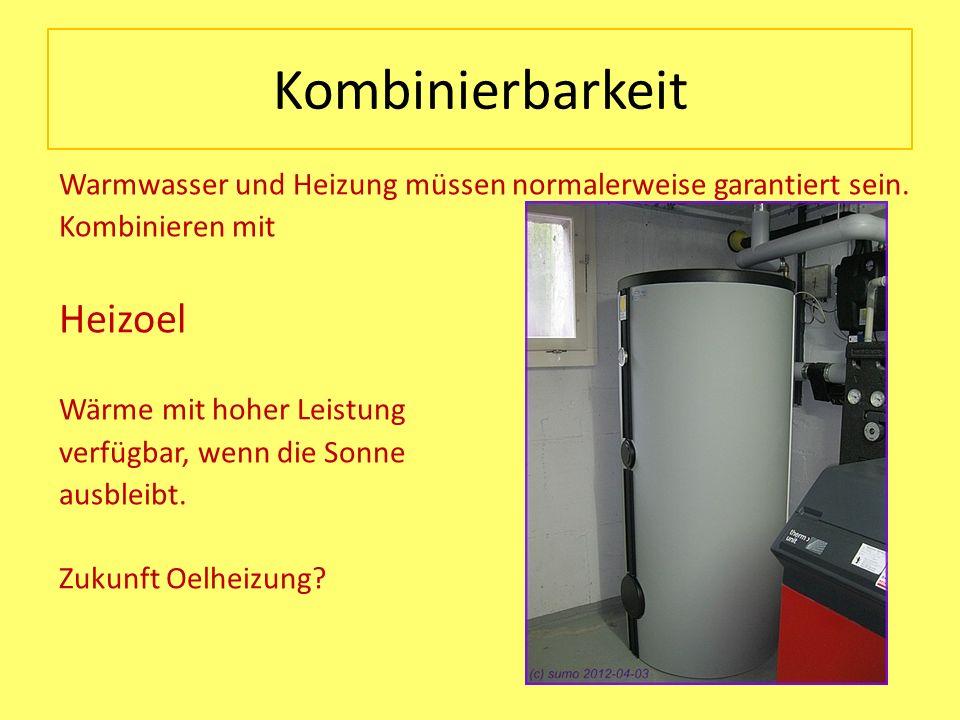 Kombinierbarkeit Warmwasser und Heizung müssen normalerweise garantiert sein. Kombinieren mit Heizoel Wärme mit hoher Leistung verfügbar, wenn die Son