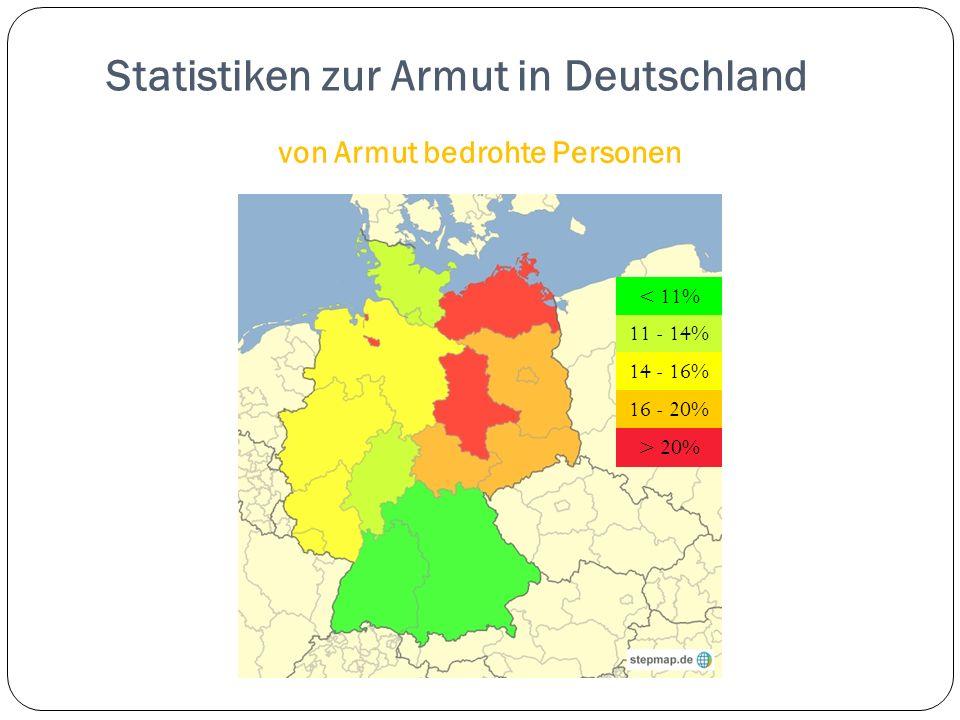 Statistiken zur Armut in Deutschland von Armut bedrohte Personen < 11% 11 - 14% 14 - 16% 16 - 20% > 20%