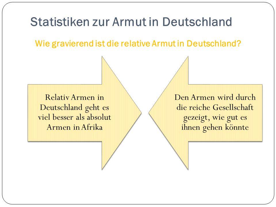 Relativ Armen in Deutschland geht es viel besser als absolut Armen in Afrika Den Armen wird durch die reiche Gesellschaft gezeigt, wie gut es ihnen gehen könnte Statistiken zur Armut in Deutschland Wie gravierend ist die relative Armut in Deutschland?