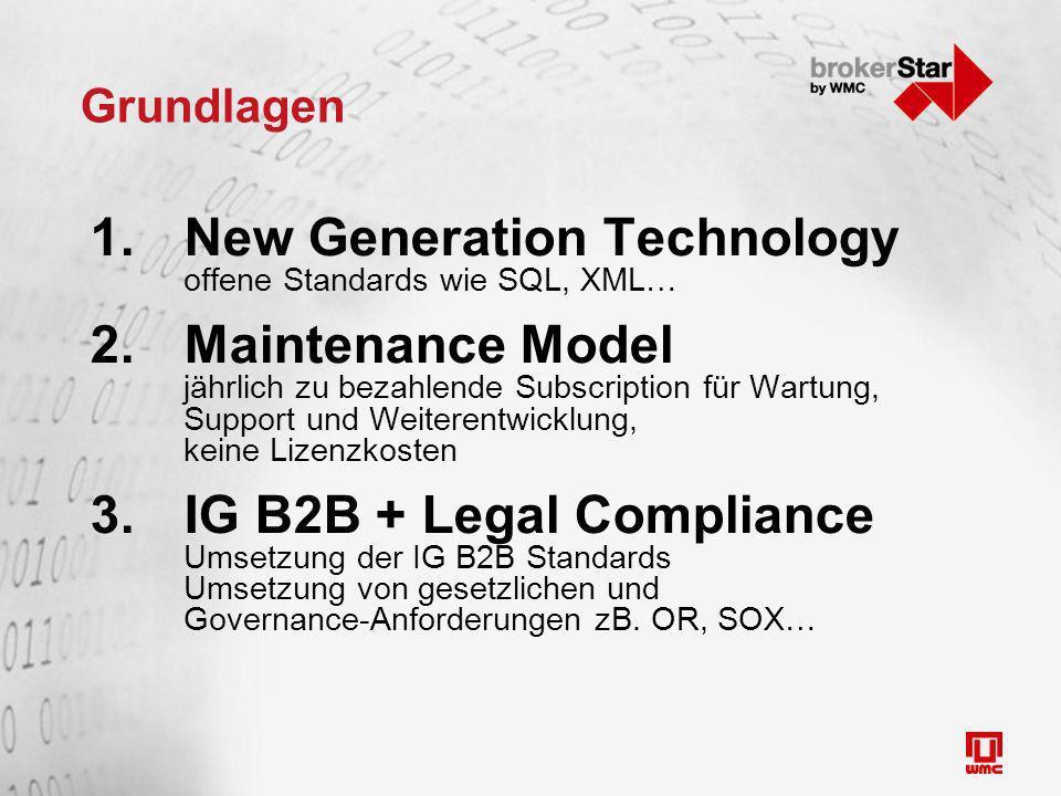 Grundlagen 1.New Generation Technology offene Standards wie SQL, XML… 2.Maintenance Model jährlich zu bezahlende Subscription für Wartung, Support und Weiterentwicklung, keine Lizenzkosten 3.IG B2B + Legal Compliance Umsetzung der IG B2B Standards Umsetzung von gesetzlichen und Governance-Anforderungen zB.