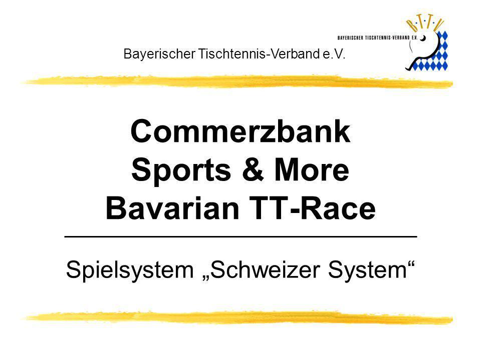 Commerzbank Sports & More Bavarian TT-Race Bayerischer Tischtennis-Verband e.V. Spielsystem Schweizer System