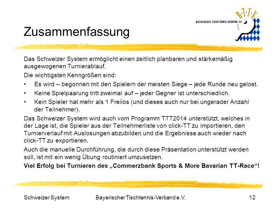 Bayerischer Tischtennis-Verband e.V.12 Zusammenfassung Das Schweizer System ermöglicht einen zeitlich planbaren und stärkemäßig ausgewogenen Turnierab