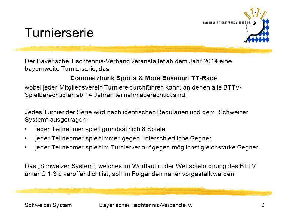 Schweizer SystemBayerischer Tischtennis-Verband e.V.2 Turnierserie Der Bayerische Tischtennis-Verband veranstaltet ab dem Jahr 2014 eine bayernweite T