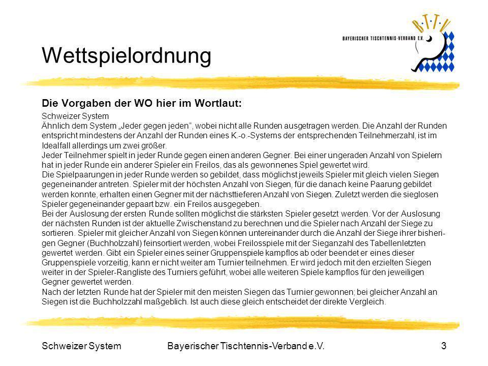 Schweizer SystemBayerischer Tischtennis-Verband e.V.3 Wettspielordnung Die Vorgaben der WO hier im Wortlaut: Schweizer System Ähnlich dem System Jeder
